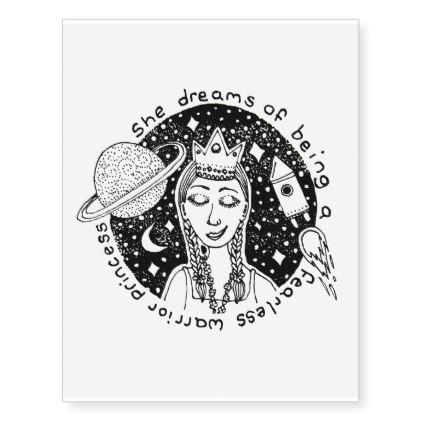 Empower Feminist Girl Princess Galaxy Dream Doodle Temporary