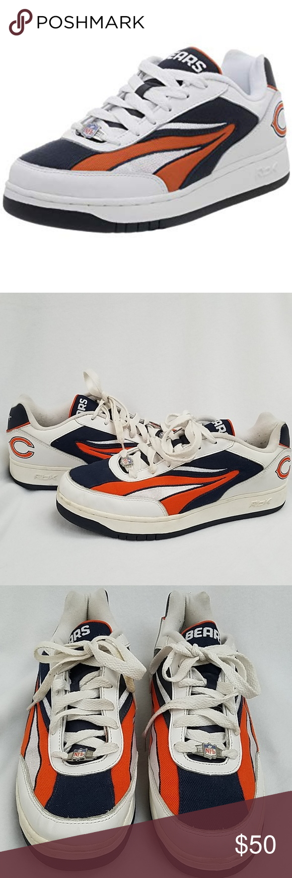 07d71c2291a9 NFL Chicago Bears Reebok Sneakers NFL Chicago Bears Reebok Sneakers Men s  size  11.5 🌟Only worn a handful of times - see pictures for staining on  the ...