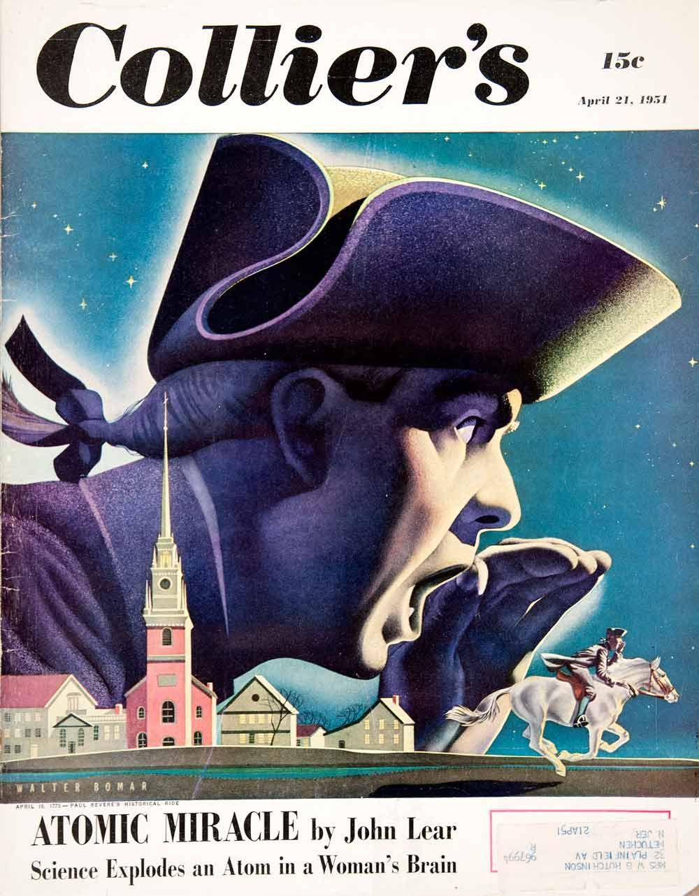 1951 cover colliers paul revere midnight horse ride walter bomar