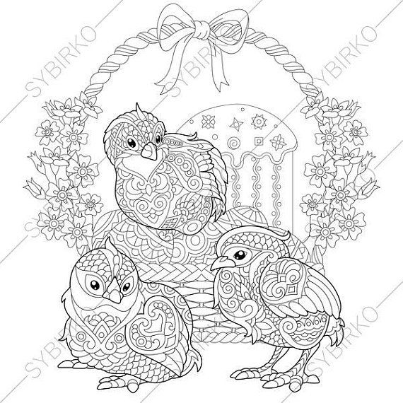 Easter Chicks And Basket With Eggs 3 Coloring Pages Animal Book