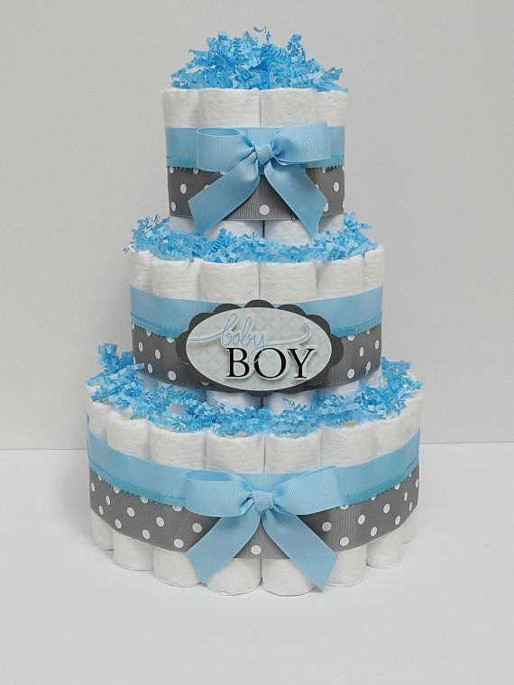 4fea13a1195b 3 Tier Baby Boy Blue And Gray Diaper Cake