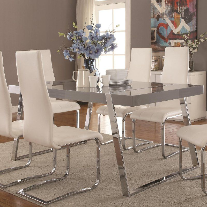 Coaster Furniture Giovanni Dining Table 106011 Grey Dining Tables Metal Dining Room Rectangular Dining Table