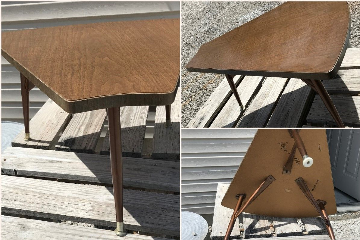 Mid Century Modern Vintage Triangle Formica Top Side End