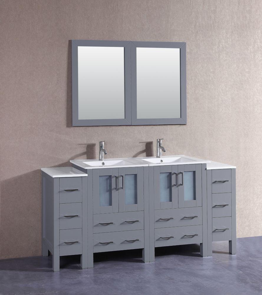 73 Inch W X 19 Inch D Bath Vanity In Gray With Ceramic Vanity Top