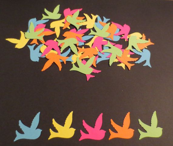 Neon Bird Confetti/Scrapbook Cut OutsSet of by coolcraftsandmore, $3.50