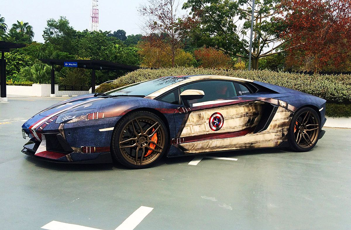 Car sticker wrap singapore - Captain America Full Graphics Wrap Lamborghini Aventador