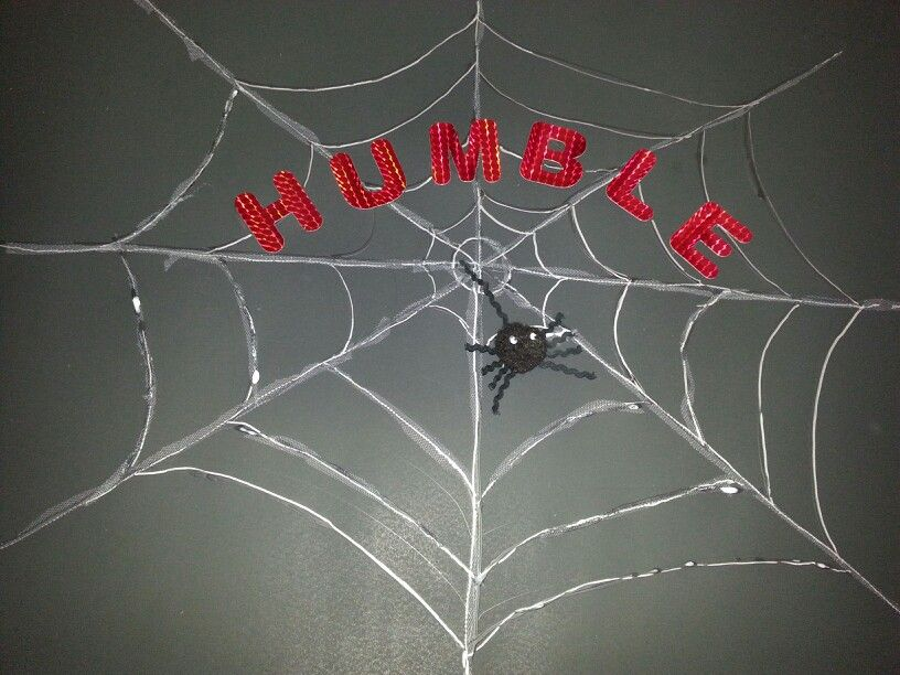 Charlotte's Web ....spider is a pom pom with rick rack and googly eyes. Used tulle for web.