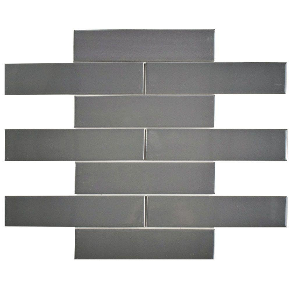 Merola Tile Metro Soho Glossy Grey 1 3 4 In X 7 3 4 In Porcelain Floor And Wall Subway Tile 1 Sq Ft Pack Fmtshgg The Home Depot Porcelain Flooring Wall Tiles Subway Tile
