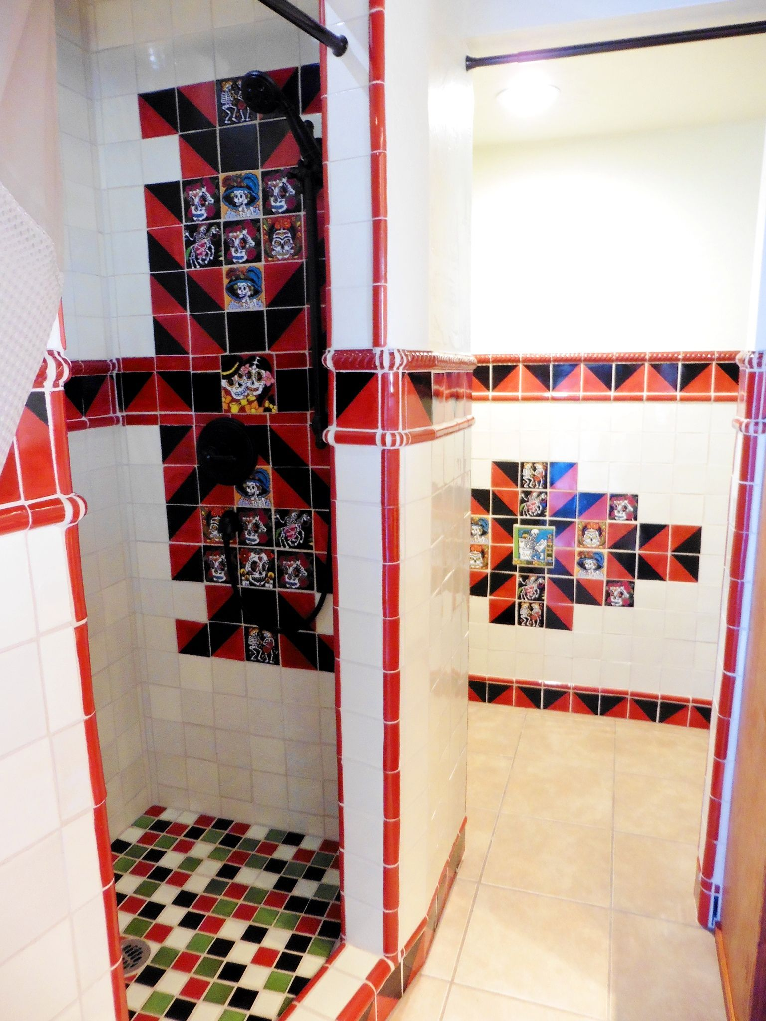 Dia De Los Muertos Day Of The Dead Themed Mexican Tile Shower