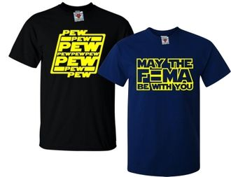 Men's Pew Pew and May The F=MA Be With You T-Shirt Double Pack 0