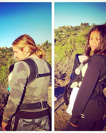 Zoe Saldana shared a photo of herself hiking with her husband Marco Perego and their newborn twin sons Cy and Bowie
