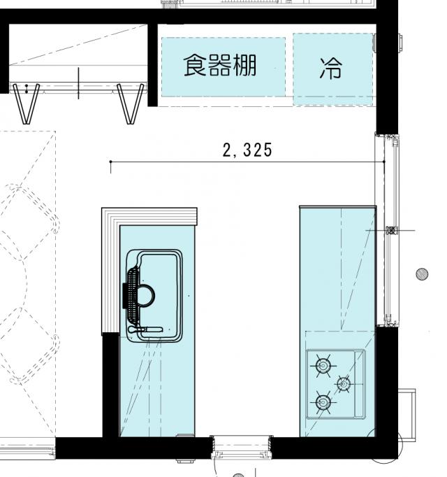 型 セパレート キッチンレイアウトと寸法の実例 図面付きで詳細にお伝えします I型キッチン インテリア 収納 狭小ハウスデザイン