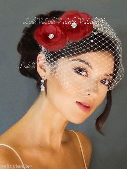 951d21f154c22 2 Red FLOWER Fascinators   IVORY Crystal Bridal Birdcage Veil 27-F19(2)   LeslieV