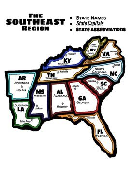 Southeast Region of the U.S. in English and Spanish | 4th ...