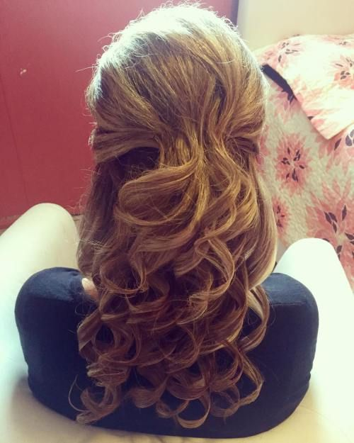 Long Curly Half Up Hairstyle | Mother of the Bride Hair ...