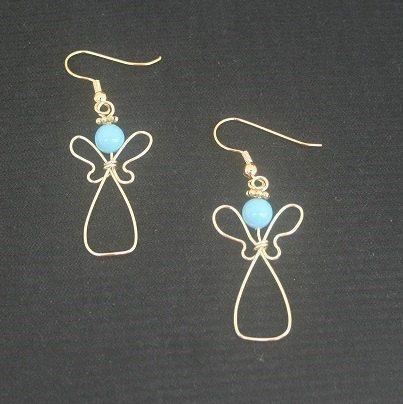 Angel earrings Turquoise earrings Wire by AngelHeartCreations