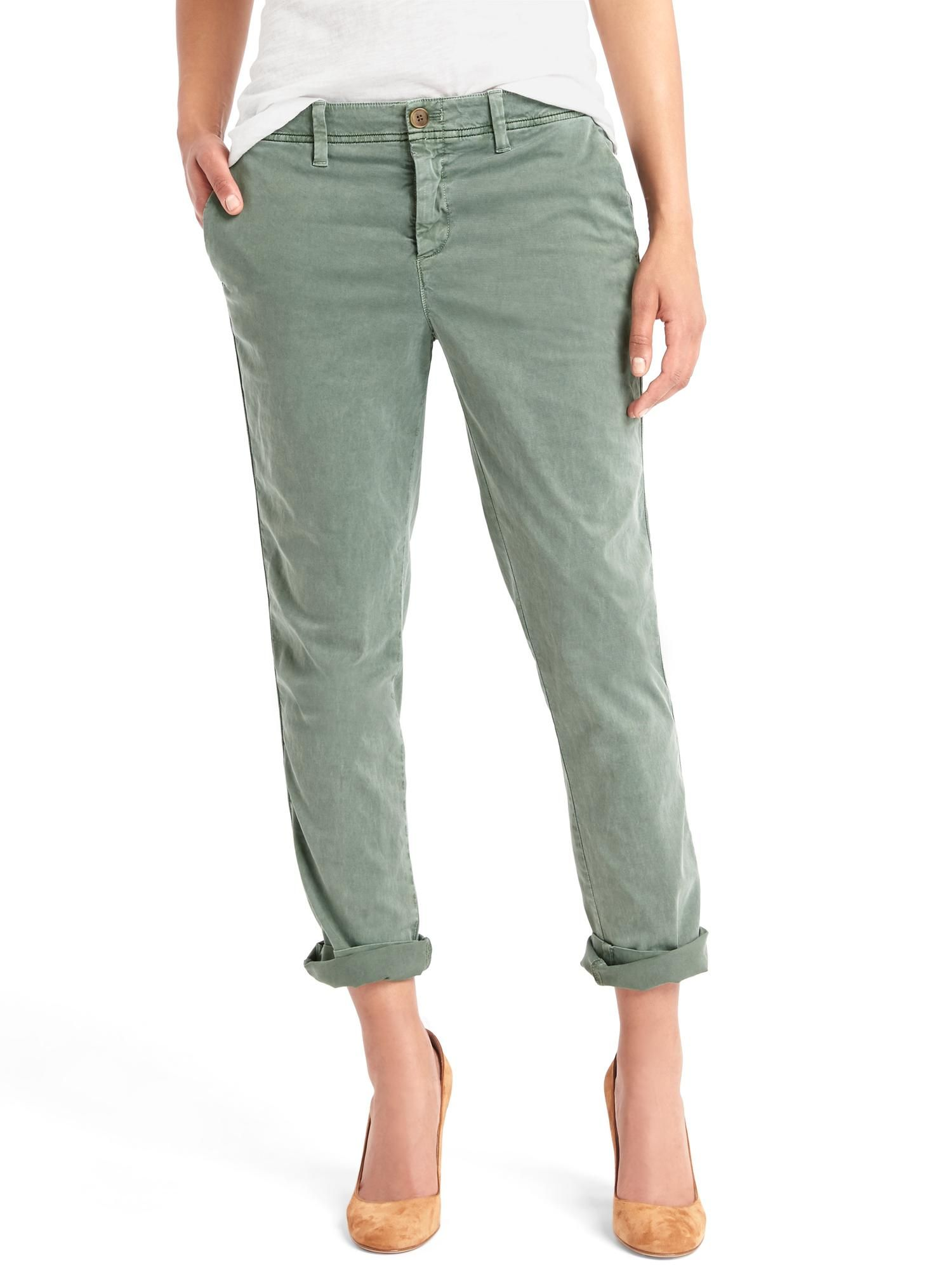 aeb350f7ec7 i have these Gap Girlfriend Chino pants in green and also in Khaki. i love  them so much! they look good with tops that flow a little above my belly  button