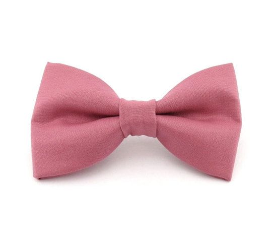 Rose Pink Clip On Bow Tie, $11.95
