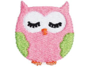 Mini owl machine embroidery design by WendysStitch on Etsy
