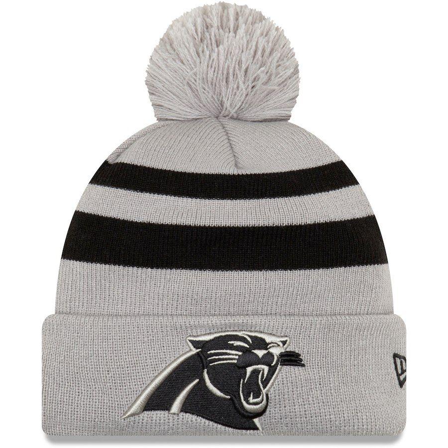 Men s Carolina Panthers New Era Gray Rebound Pom Cuffed Knit Hat ... b46c2c1a2c3