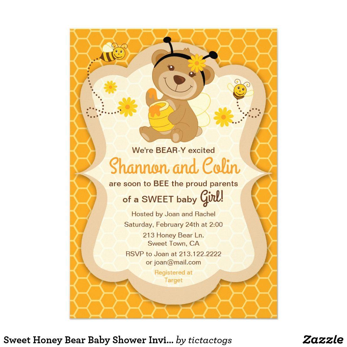 Sweet Honey Bear Baby Shower Invitation This baby shower invitation ...