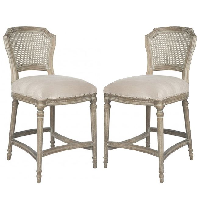 French Provincial Kitchen Stools: Dreamy Weathered Provence Counter Stools Grey Wash Cane