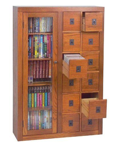 Multimedia Storage Cabinet With Glass Door In Oak Finish By Leslie