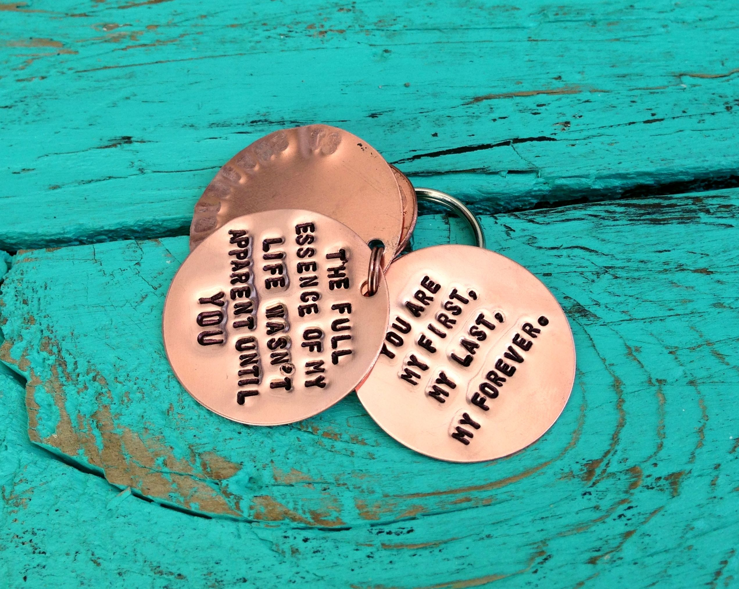 Custom grooms keychain gift from the bride wedding