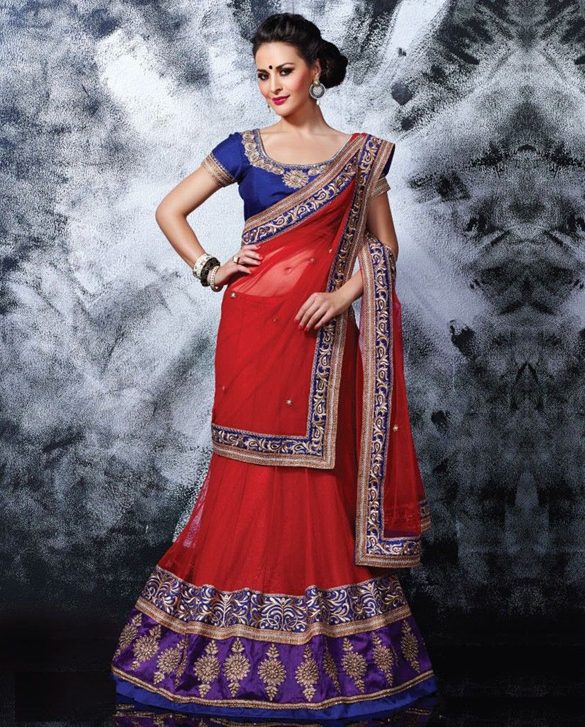 Red and blue lehenga sari with heavy embroidered border red and