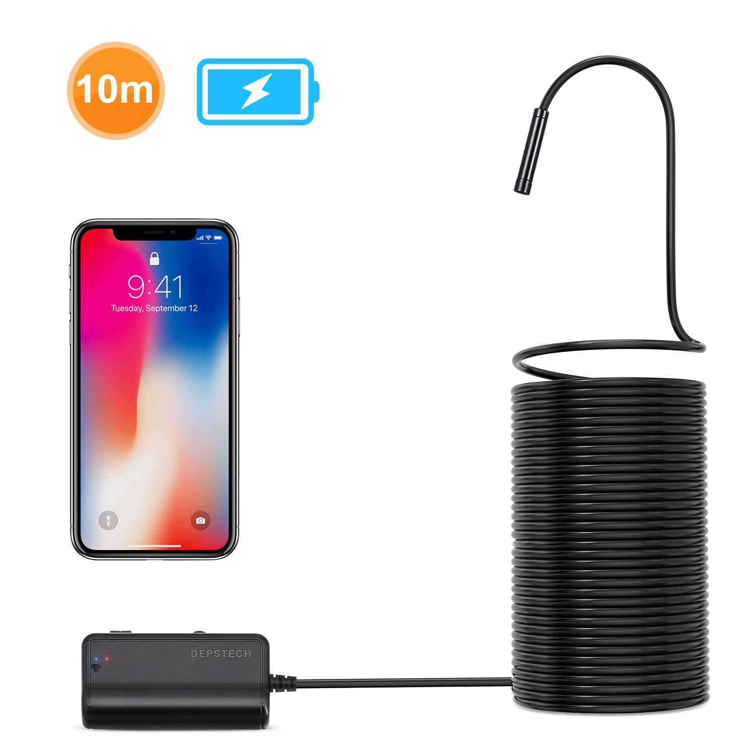 2.0 MP HD WiFi Borescope Inspection Camera,16 inch Focal Distance /& 2200mAh Battery Snake Camera for Android /& iOS Smartphone Tablet DEPSTECH 1200P Semi-Rigid Wireless Endoscope