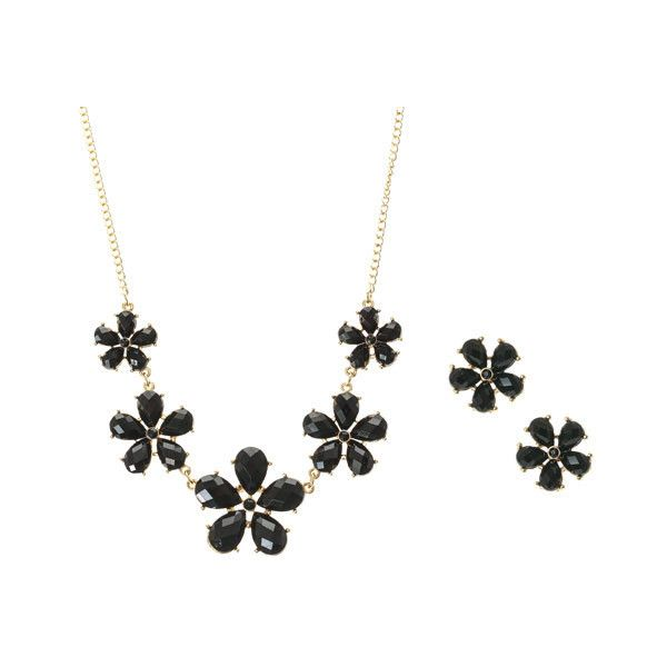 Black and Gold Flower Gem Jewellery Set ($16) ❤ liked on Polyvore