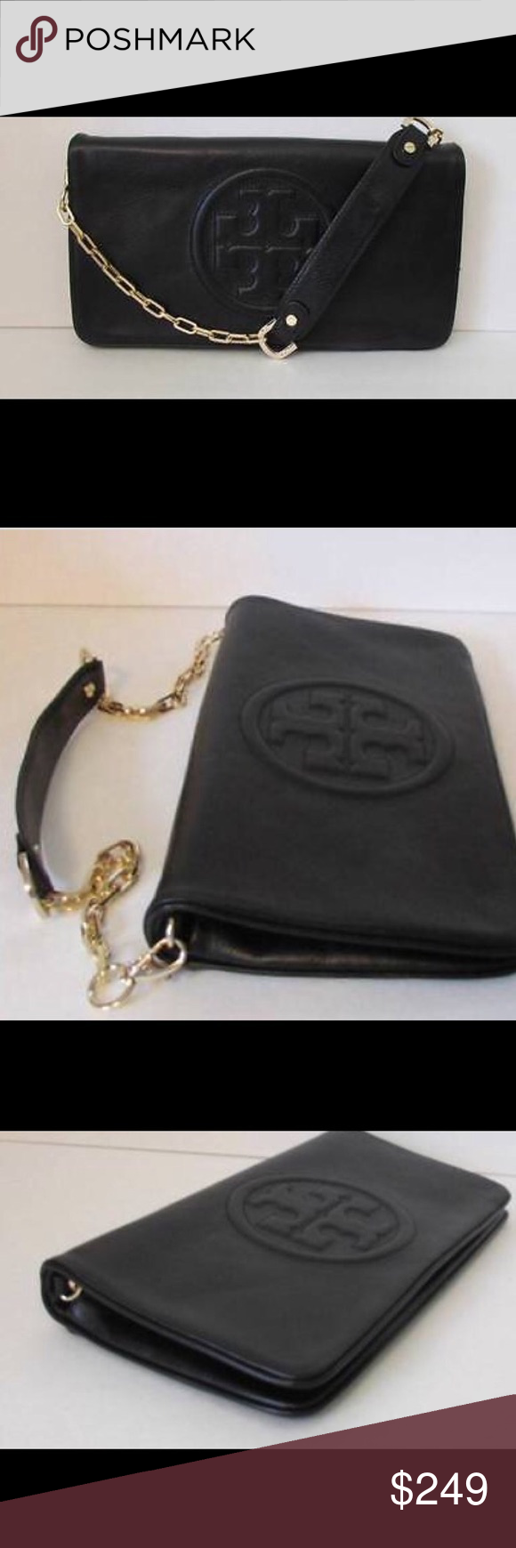 Nwt Tory Burch Bombe Reva Clutch Nwt Tory Burch Bombe Reva Clutch/Shoulder. Black with Gold Chainlink Strap. Ships Next Day! Tory Burch Bags Clutches & Wristlets
