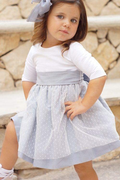 9dae05daa VESTIDO MARIELA LINO Y TUL PLUMETI CON MANGA | vestidos para niñas | Vestidos  de arras niñas, Vestidos, Vestidos niña ceremonia