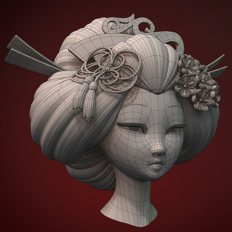 Character Design Tutorial In 3d Max : Geisha head d max topology pinterest and