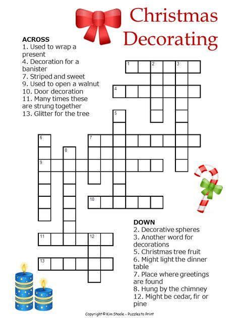 Christmas Decorations Crossword For Kids Christmas Worksheets Christmas Crossword Christmas Crossword Puzzles