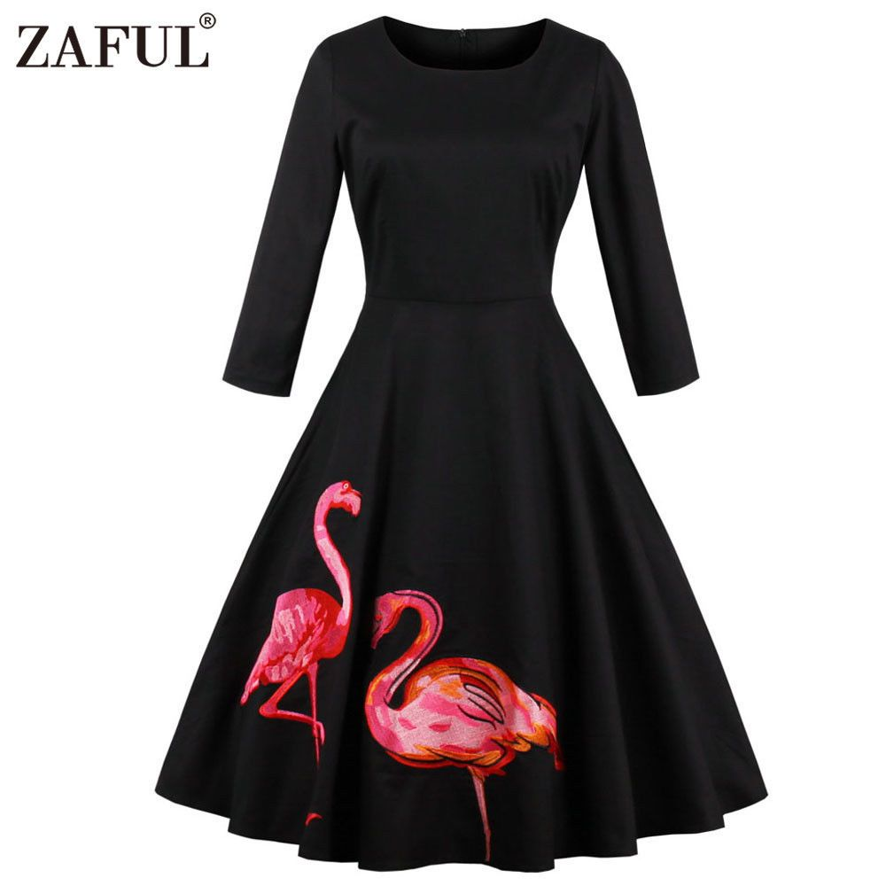 Fashion hepburn vintage long sleeve dress two flamingo design retro