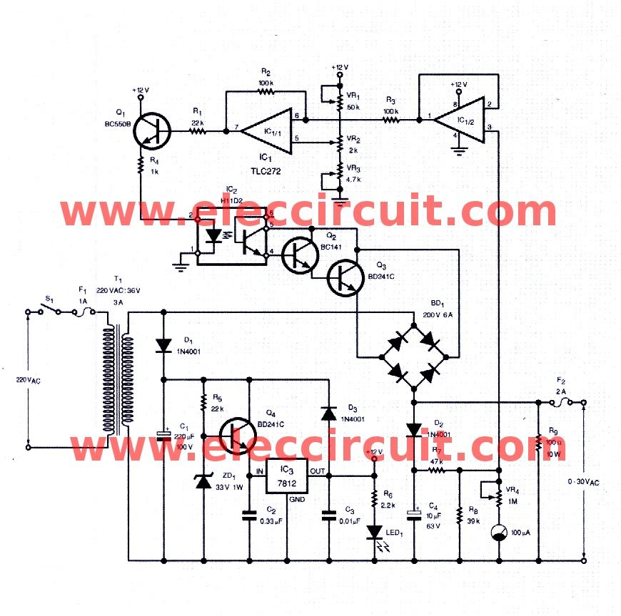 Ac Variable Power Supply Circuit With Pcb 0 30v 3a Power Supply Circuit Power Supply Circuit