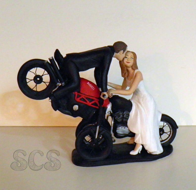 Ducati Loves Harley Davidson Front Wheelie Stoppie Custom Wedding Cake Topper Sophie Cartier Sculpture