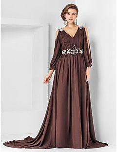 A-line V-neck Court Train Chiffon Evening Dress – GBP £ 80.29