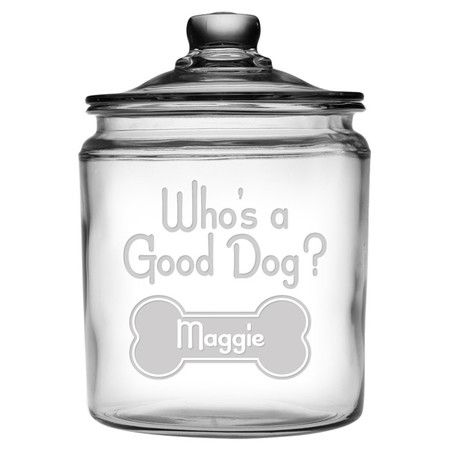 Showcasing a sand-etched typographic motif, this charming lidded glass jar is perfect for keeping treats and kibble fresh.  Product:...