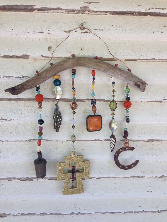 Bohemian garden art, front porch decor, yard art, windchime, driftwood art