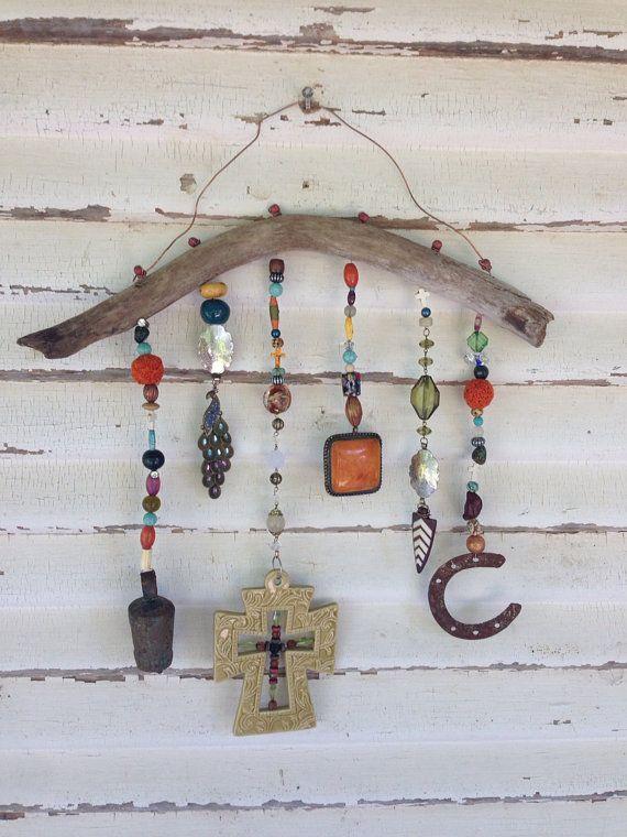 Bohemian garden art, front porch decor, yard art, windchime, driftwood art