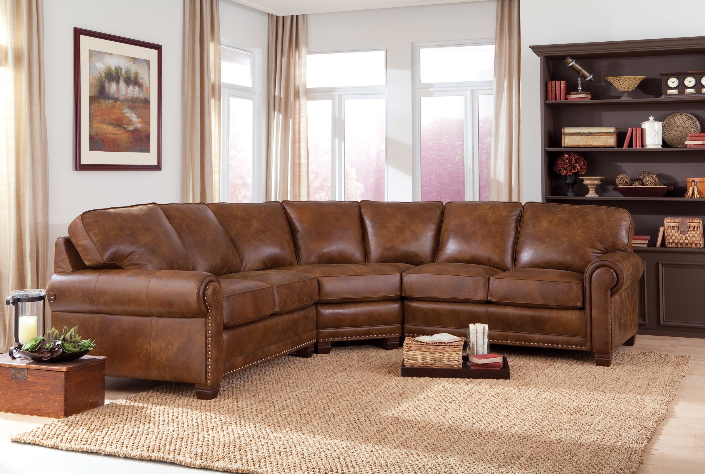 393 Smith Brothers Leather Sectional Living Room Furniture