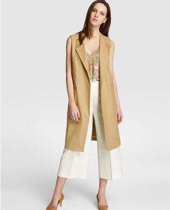 33520261f Chaleco maxi de mujer Amitié en color marrón claro | FASHION-MODA en ...