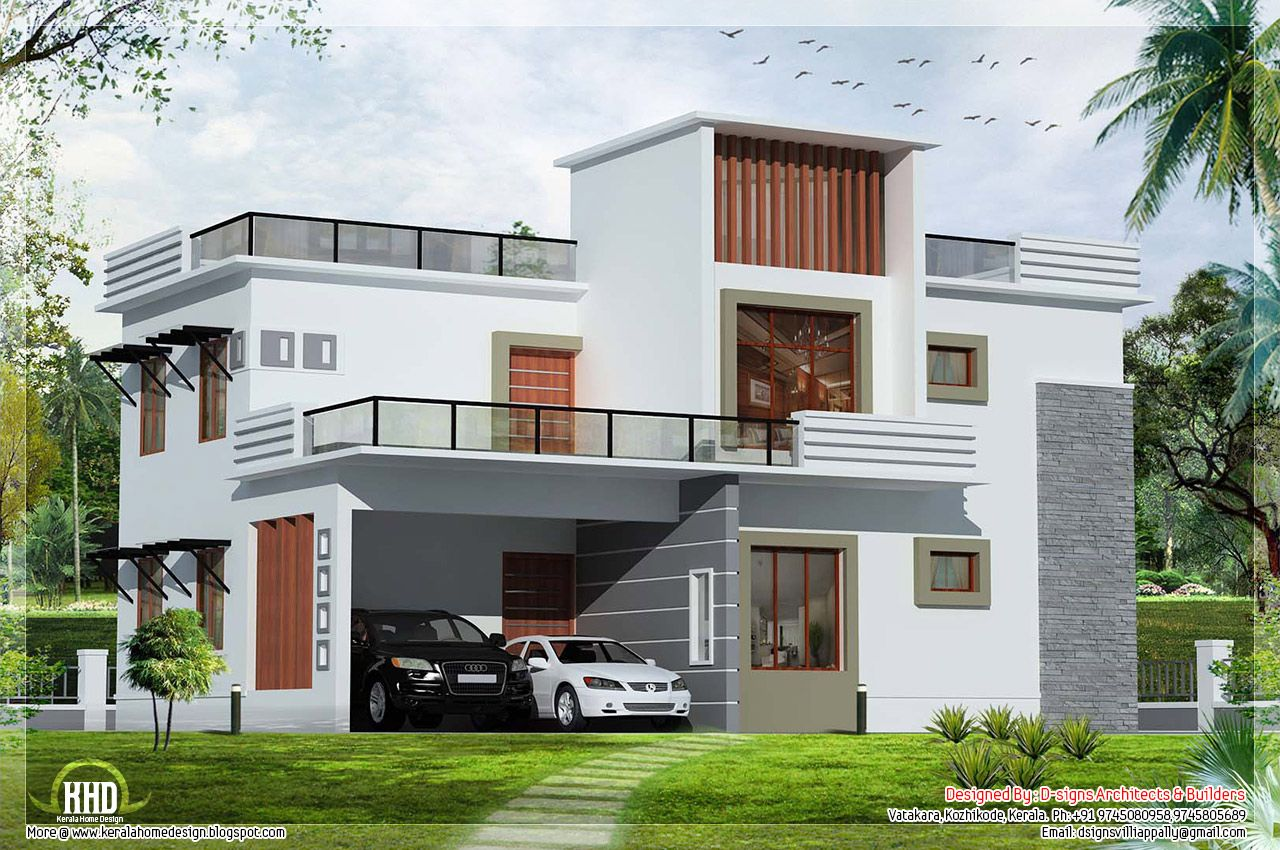 Flat roof homes designs flat roof house kerala for Contemporary home builders