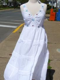 CLEARANCE White Summer Hippie Dress Casual Wedding Dress NEW S  M   Free Size ship included