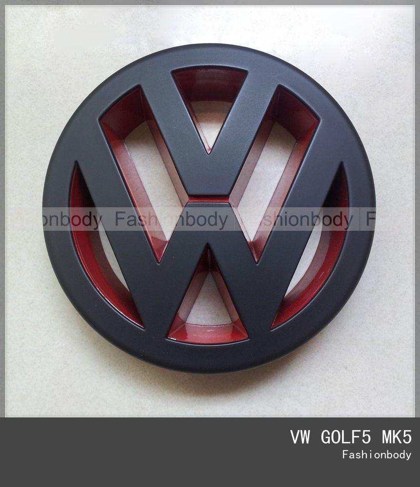 6536d889a VW GOLF5 MK5 Emblem GTI TDI Front Grill Badge Volkswagen LOGO Black/Red  Matte