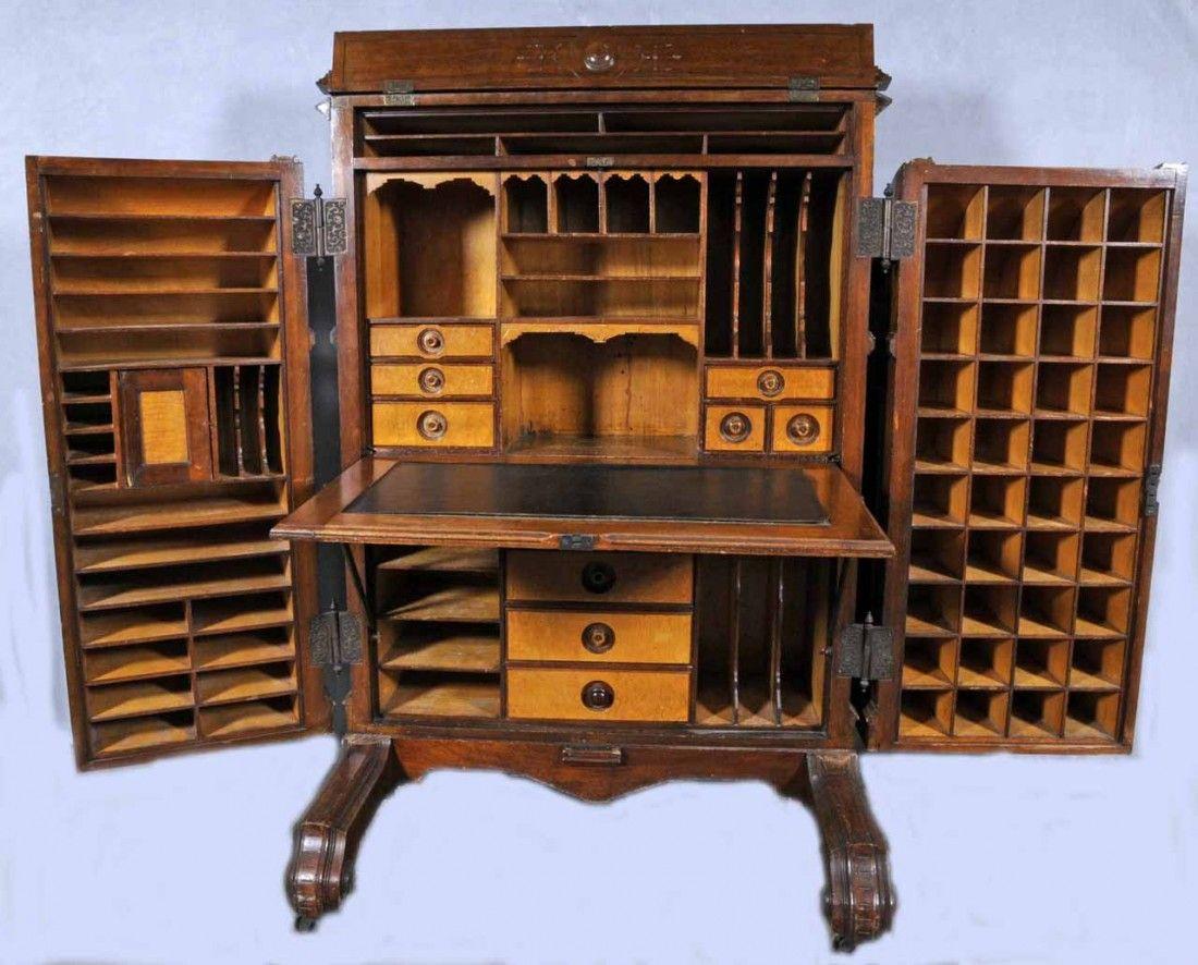 Sold For 2 500 In Nov 2011 Antique American Wooten Desk In The Wells Fargo Style Double Doors