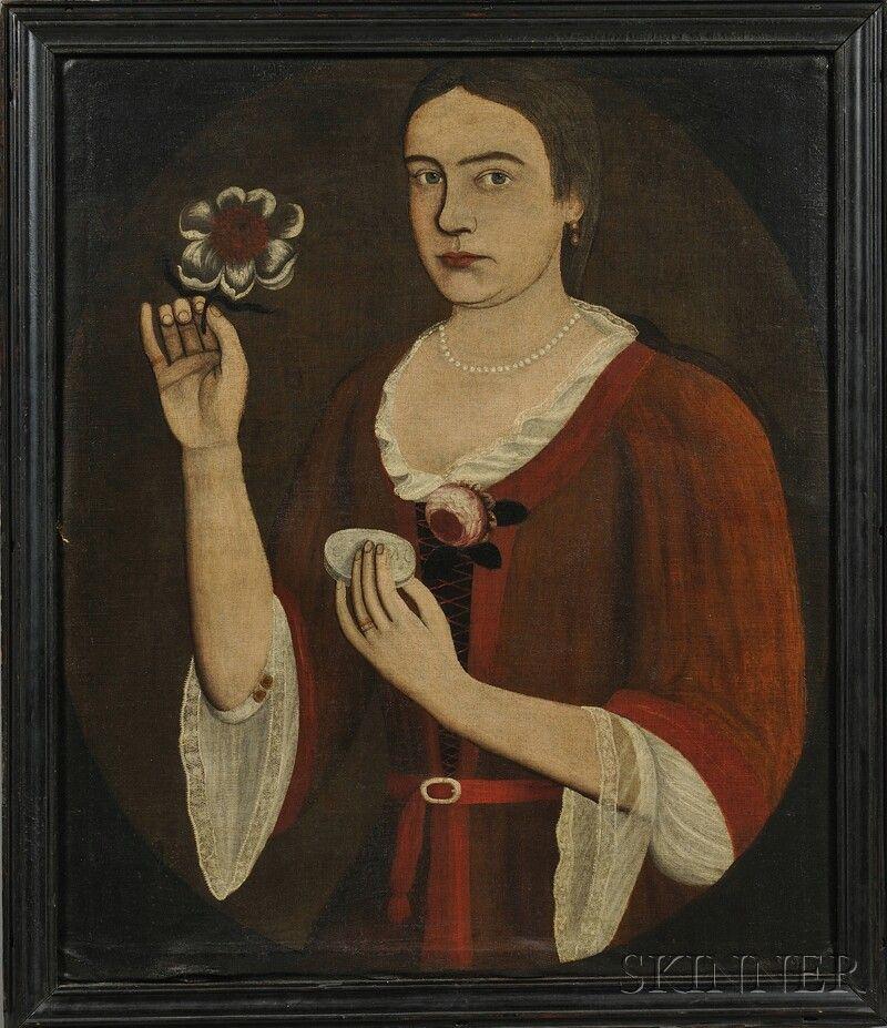 "Pieter Vanderlyn (The Gansevoort Limner) (New York, 1687-1778)      Portrait of Elizabeth ""Betje"" Van Dyck Vosburg."