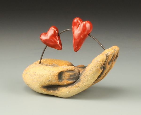 Two Hearts in Hand by Cathy Broski: Ceramic Sculpture available at www.artfulhome.com